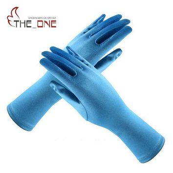 Girls Elsa Coronation Gloves 9 colors Brocade Short Long Finger Floves 24cm Pure Color Cosplay Clothing Girl Party Costume T024