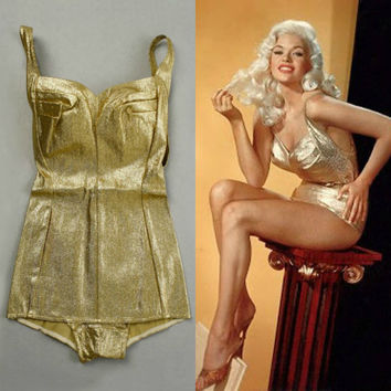 Vintage 50s GOLD Lame SWIMSUIT 1950s COLE of California Esther Williams The Million Dollar Mermaid Golden Icon Bathing Suit Vintage PinUp Sm