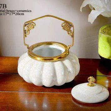 Modern Elegant Porcelain Brass Pot Centerpiece
