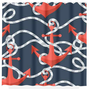 Anchor SHOWER CURTAIN Nautical Rope Red Navy MONOGRAM Personalized Bathroom Decor Bath Beach Towel Plush Bath Mat