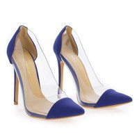 Gwen Royal Blue By Shoe Republic, D'Orsay Seamless Lucite Pointy Toe Stiletto Heel Pump