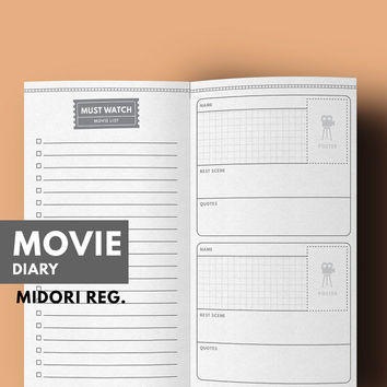 Midori Inserts Movie Printable, Midori Pages Movie, Midori Refill, Movie List, Favorite Movie Diary, Midori Traveller's Notebook Regular