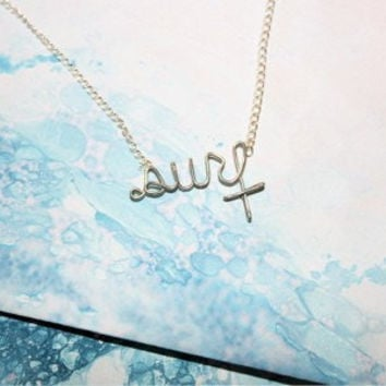 Surf Necklace - Wire Written Word Jewelry - Gift for a Surfer Girl