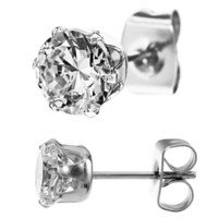 316L Stainless Steel Clear Cz Stud Earrings Size (2mm,3mm,4mm,5mm,6mm,7mm,8mm,9mm,10mm) You Choose Your Size, Comes with Free Gift Box