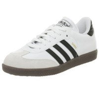 adidas Samba Classic Leather Soccer Shoe (Toddler/Little Kid/Big Kid),White/Black/Running White,5 M US Big Kid