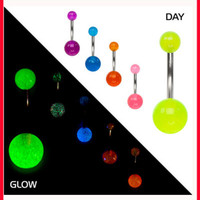 Glow In The Dark Florescent Surgical Steel Piercing Belly Button Navel Ring