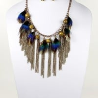 Gold Chain Blue And Brown Feather Fringed Necklace With Earrings