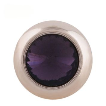 "Snap Charm Rose Gold Border Purple Crystal 12mm Mini Size 1/2"" Diameter Fits Ginger Snaps"