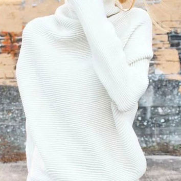 High-Necked Loose Raglan Sleeve Mid Length Knit Sweater