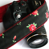 Roses Camera Strap.dSLR Camera Strap. Canon Camera Strap. Black and red Camera Strap. Women accessories
