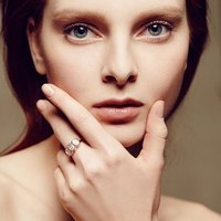 Moonstone Trinity Ring in 14k Rose Gold by Arik Kastan White