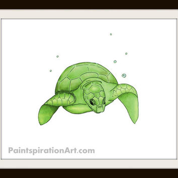 Sea Turtle Decor Digital Print Art - Sea Turtle Painting - Kid's Room Decor Art Bathroom Decor - Sea Creatures Print - Nursery Decor Art -