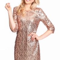 GLITZY ROSE GOLD DRESS