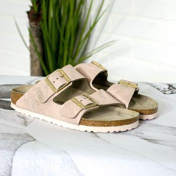Arizona Washed Metallic Rose Gold Birkenstocks