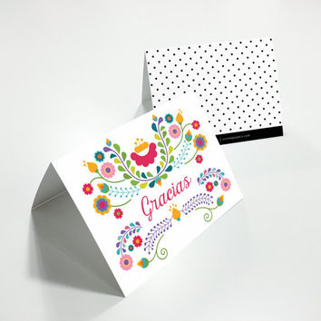 Gracias, Thank You Card, Set of 10 | Fiesta, Birthday, Mexican, Dia De Los Muertos, Cinco De Mayo, Bridal Shower, Wedding | Julieta