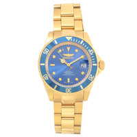 Invicta 18507 Men's Pro Diver Blue Dial Yellow Gold Steel Bracelet Automatic Dive Watch