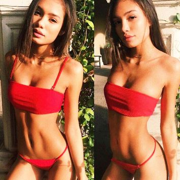 Summer New Fashion Solid Color Straps Two Piece Bikini Swimsuit Red