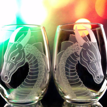 Dragon stemless wine glasses - Set of two