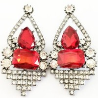 Womens Red Crystal Stones Silver Geometric Prom/Homecoming Statement Earrings