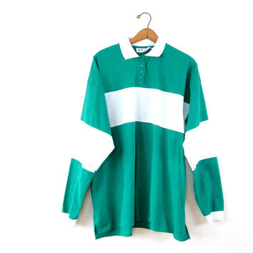 Vintage 1980s Teal & White Striped Rugby Long Sleeve Polo Shirt Sz L/XL