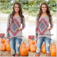 Grey Geometric Print Long Sleeve Shirt
