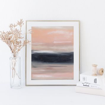 Large Modern Statement Piece Abstract Pink, Navy and Beige Wall Art Print