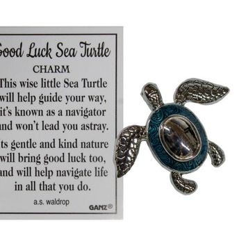 Ganz Good Luck Sea Turtle Pocket Charm with Story Card