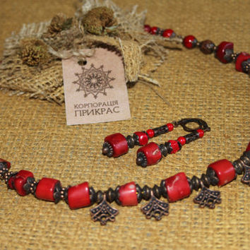 Orange natural coral necklace with earrings set Terracotta jewelry Traditional Ukrainian coral necklace Classic coral jewelry Coral beads