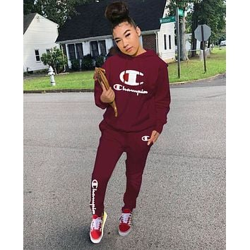 Champion Hot Sale Women Casual Long Sleeve Hoodie Top Pants Set Two-Piece Burgundy