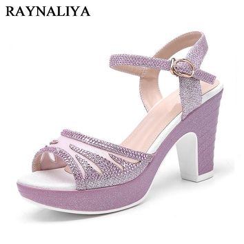 Women Sexy Spike Heel Opened Toe Shoes Lady Summer Gladiator Sequin Daily High Heels Sandals Girl 34-39 Size YG-A0124