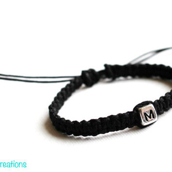 Custom Initial Bracelet, Hand Knotted Black Macrame Hemp Jewelry, Fully Personalized, Gift for Her, Gift for Him