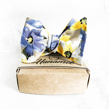 Hanamel Handmade Spring Blue/Yellow Floral Self Tie Bow Tie - Wedding Floral Bow Tie - Wedding Blue Floral Bow Tie - Daisy Bow Tie
