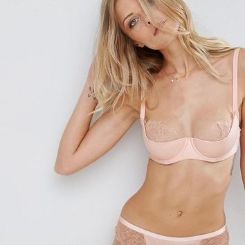 ASOS Lillie Satin Moulded Half Cup Bra With Lace at asos.com
