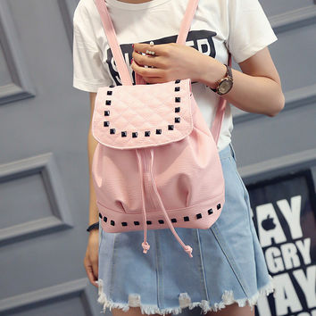 Summer Washed Leather Shoulder Bag Fashion Female Mini Backpack Teenage Girl