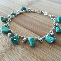 Handmade Chipped Turquoise Stones & Bell Charms Sterling Silver Bracelet