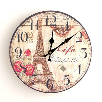 Eiffel Tower Round Analog Wood Wall Clock
