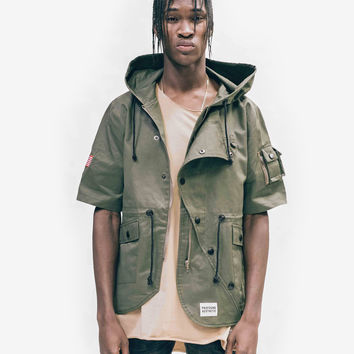 Short-Sleeve Asymmetrical Hooded Parka in Olive