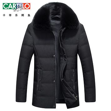 Cartelo/brand Casual White Duck Down Jacket Fox Feather collar Winter Autumn Warm Coat Fashion Thick Parka Jacket Coat For Male