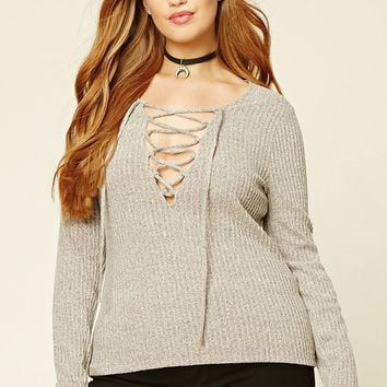 Plus Size Marled Lace-Up Top
