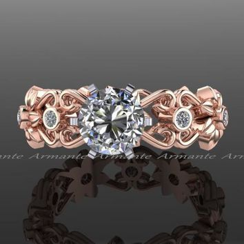 Filigree Floral Wedding Band Moissanite Diamond Wedding Ring