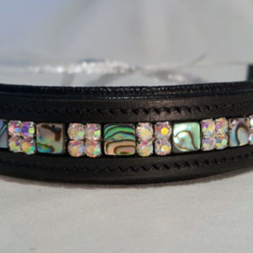 Bling English Straight Full Sized Browband Abalone and White Rhinestone