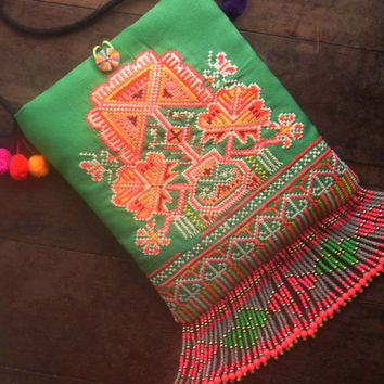 Tribal fringe purse // hippie // tassel // cross body // ethnic // green // folk