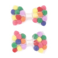 Pom Pom-Filled Bow Hair Clips