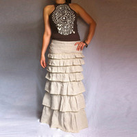 Layered Ruffle Long Skirt made from Linen with back Slit