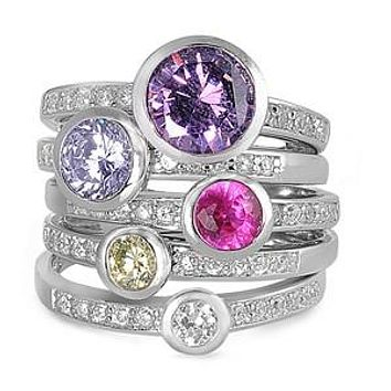 Stacked Colorful Engagement Wedding Bands