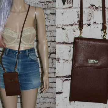 90s organizer purse cross body vegan leather brown festival bag grunge boho hipster small