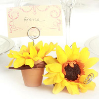 Opentip.com: Wedding Belle Favors WB367 Sunny Sunflower Terra Cotta Pot Place Card Holders (Set of 4)