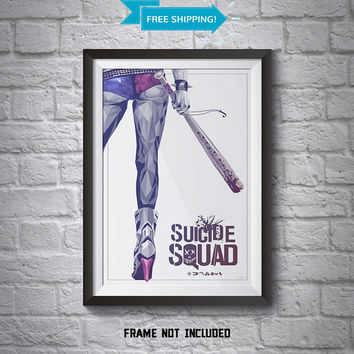 Suicide Squad Poster - Wall Art Poster - A4 Poster - Harley Quinn Poster - Printed Movie Poster - Boys Room Decor - Suicide Squad Print