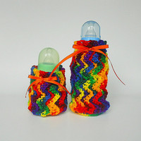 Baby Bottle Covers Cozy Set Bright Rainbow Cozies Newborn Girl Kozy Infant Boy Feeding  2 Two Colorful  Koozies  Orange Ribbon