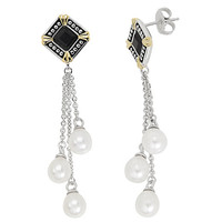 "Honora ""Deco Noir"" White Oval Freshwater Cultured Pearl Dangle Drop Earrings"